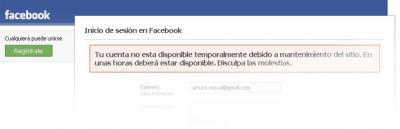 Facebook en mantenimiento?