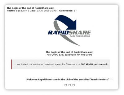 "Rapidshare.. another ""trash-hoster""."