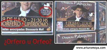 ¿Orfero u Orfeo?... un gran error en vía pública